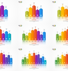 Set of column chart infographic templates vector