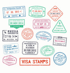 Visa stamps or passport signs of immigration vector