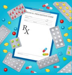 Drug prescription medical background poster vector