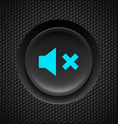 Black button with blue mute sign on carbon vector