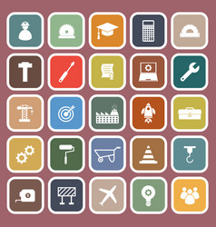 Engineering flat icons on red background vector