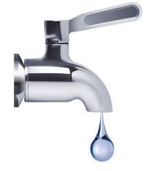Faucet and water drop isolated 3d vector