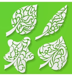 Four spring leaves vector