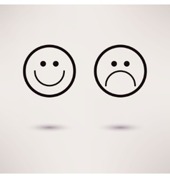 Funny and sad smiles icons flat style vector