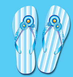 Blue sandal with decoration vector