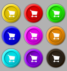 Shopping basket icon sign symbol on nine round vector