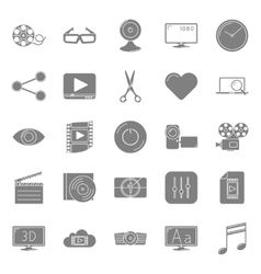 Video silhouettes icons set vector