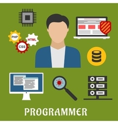 Programmer and devices flat icons vector