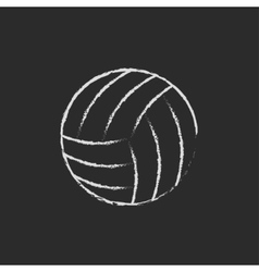 Volleyball ball icon drawn in chalk vector