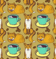 Sketch foxes and coffee vector image