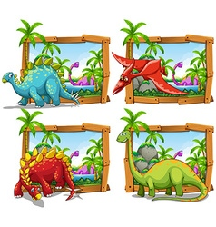 Four scenes of dinosaurs by the lake vector