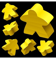 Yellow wooden meeple set vector
