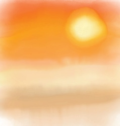 watercolor sunset background 2005 vector image