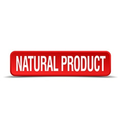 natural product red 3d square button isolated on vector image
