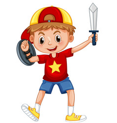 Boy playing knight with sword and sheild vector