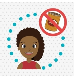 cartoon child girl fast food danger symbol vector image