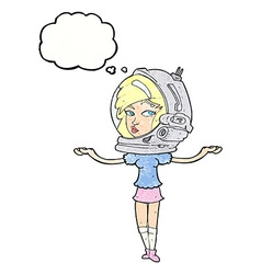 cartoon woman wearing space helmet with thought vector image vector image