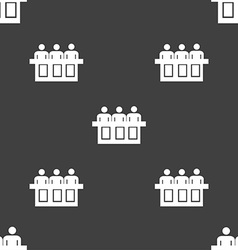 Conference icon sign seamless pattern on a gray vector