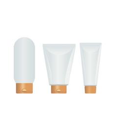 Cosmetic plastic bottle carton for creams gels vector