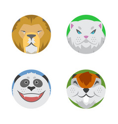 cute animals emotions icons isolated fun set face vector image