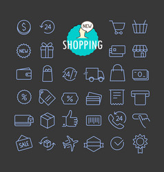 different shopping icons collection web and vector image vector image