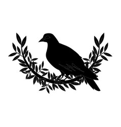Dove with olive branch peace emblem vector