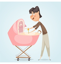 father with baby carriage vector image vector image