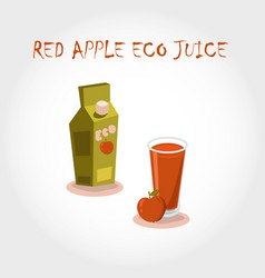 Glass bio fresh red apple juice vector