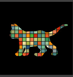 kitten cat pet color silhouette animal vector image vector image
