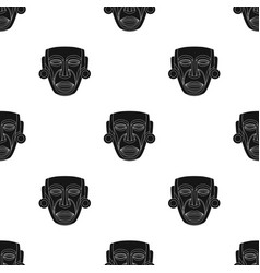 mayan mask icon in black style isolated on white vector image vector image