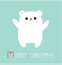 merry christmas candy cane text polar white bear vector image vector image