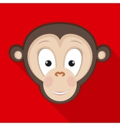 Monkey Face in Flat Style with Long Shadows vector image