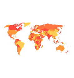 Political map of world in four shades of orange vector