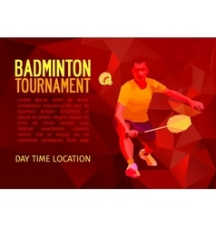 Polygonal badminton player sports poster vector