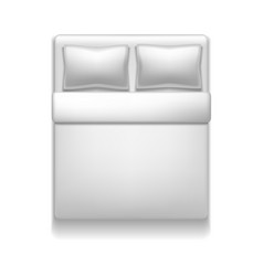 realistic detailed 3d template blank white bed vector image vector image