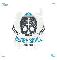 Rugby team skull emblem vector