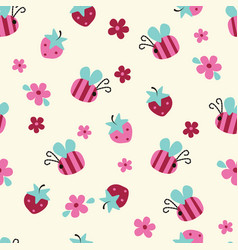 seamless pattern with flowers bees and vector image vector image