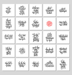 set of 25 hand lettering christmas quotes design vector image