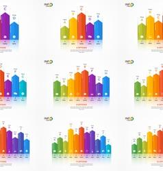 Set of column chart infographic templates vector