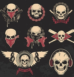 Set of skulls emblems T-shirt print templates vector image vector image