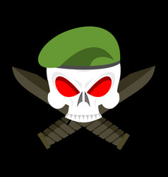 skull in beret military emblem army cap and knife vector image