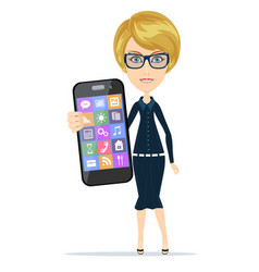 Smiling woman with smartphone standing on white vector