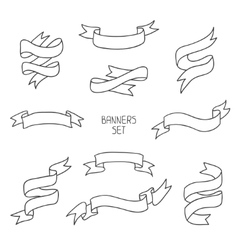 Vintage ribbon banners hand drawn set for design vector image