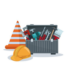 White background with toolbox and cone with helmet vector