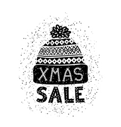 Winter special banner or label with a knitted vector