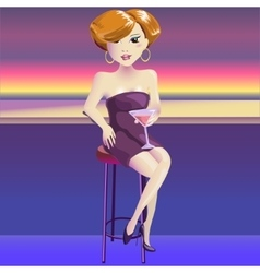 Woman vamp with glass of vine vector