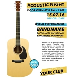 Acoustic night performance poster in your club vector image