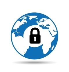 globe world icon padlock security design vector image