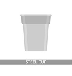 Steel cup icon vector