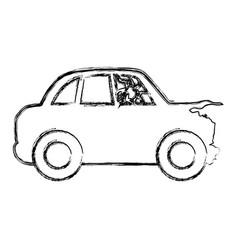 Figure crash car and dangerous automobile accident vector